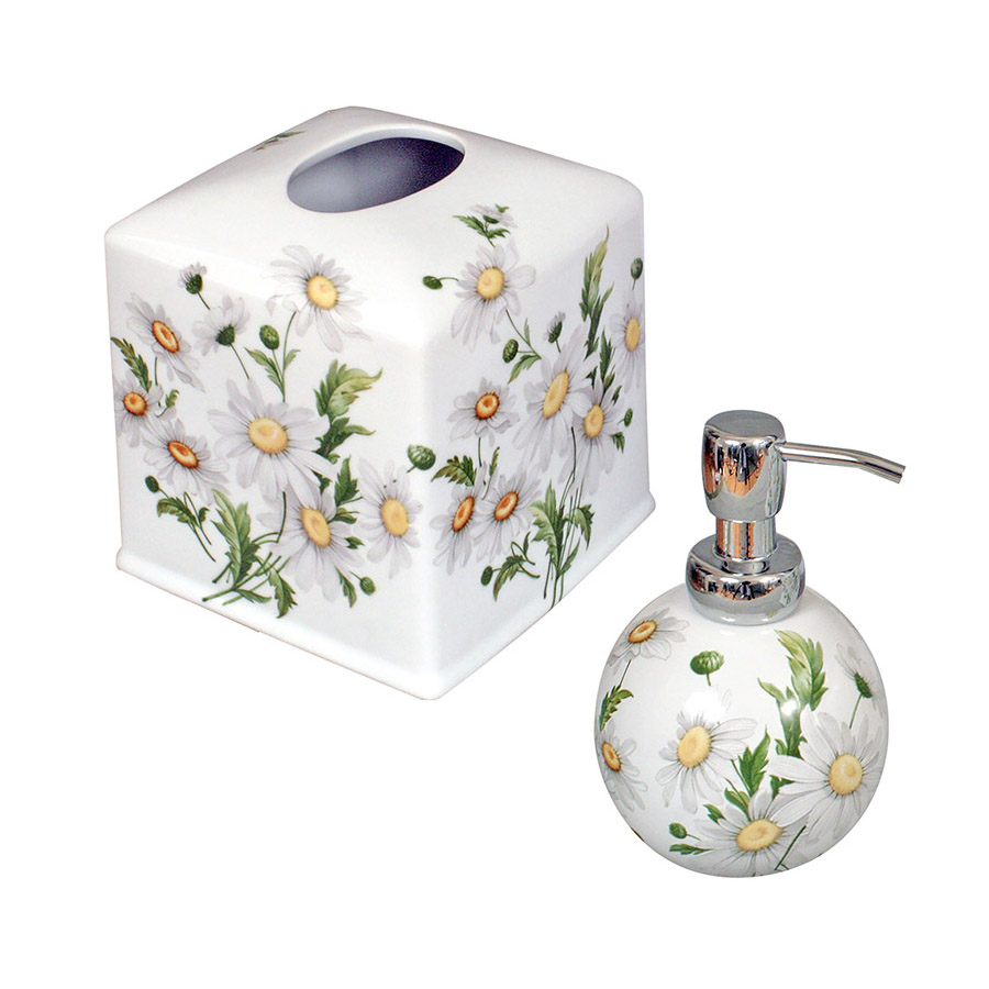 Daisy Flower Painted Soap Dispenser & Tissue Box Cover