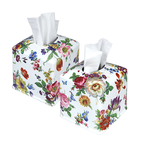 Scented Garden hand-painted porcelain tissue box cover