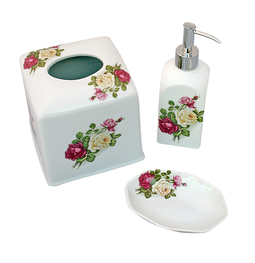 Eden Rose hand painted bathroom accessories