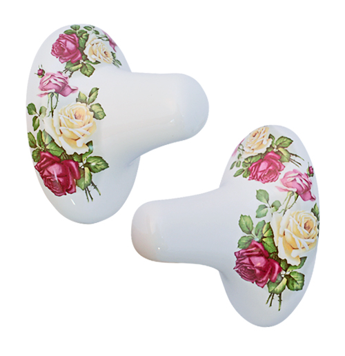 Eden Rose hand painted porcelain towel bar