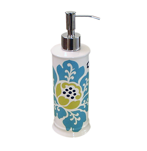 contemporary turquoise graphic floral ceramic soap dispenser