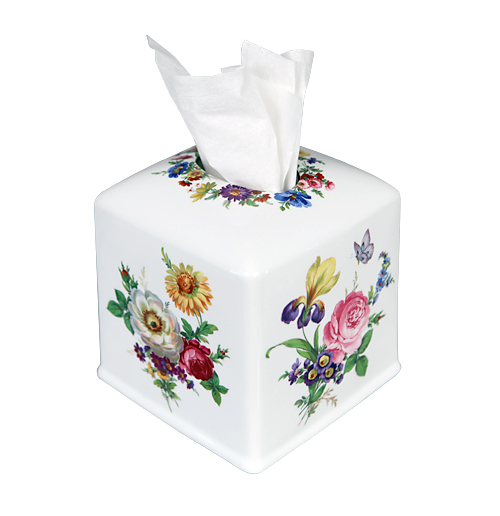 Floral porcelain tissue box cover