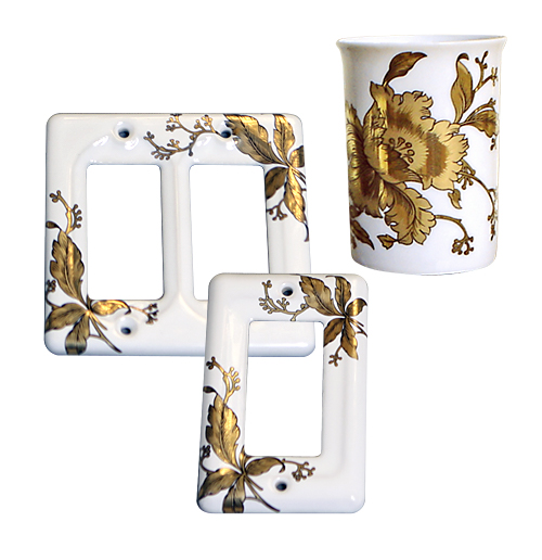 Gold orchids ceramic cup and porcelain switch plates