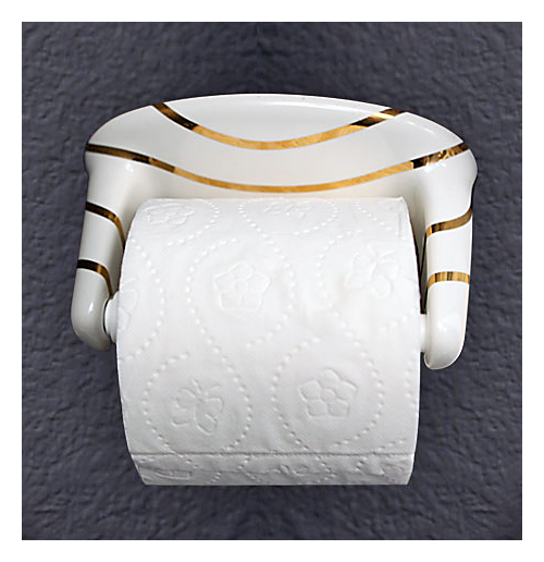 Gold Swirling Lines Ceramic Toilet Paper Dispenser
