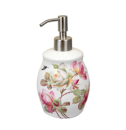 Heirloom Roses and hummingbird porcelain painted soap dispenser