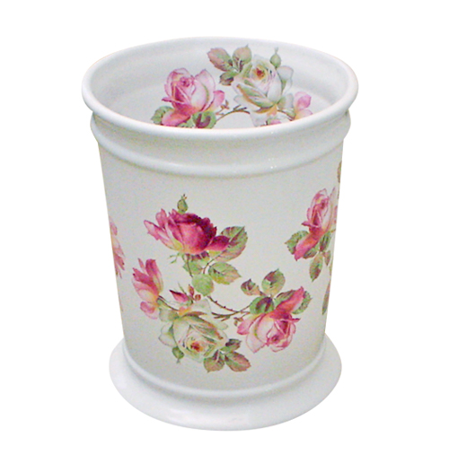 Heirloom Roses Design On A White Ceramic Wastebasket