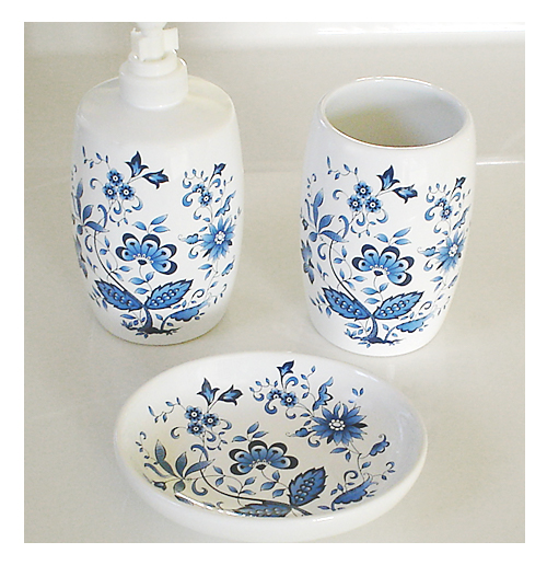 Blue Oriental Floral Soap Dispenser And Soap Dish