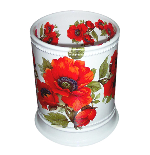 Oriental Poppies Hand Painted Ceramic Wastebasket