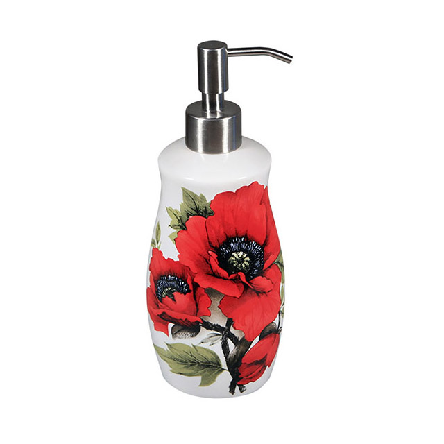 Bright Red Oriental Poppies On A White Soap Dispenser