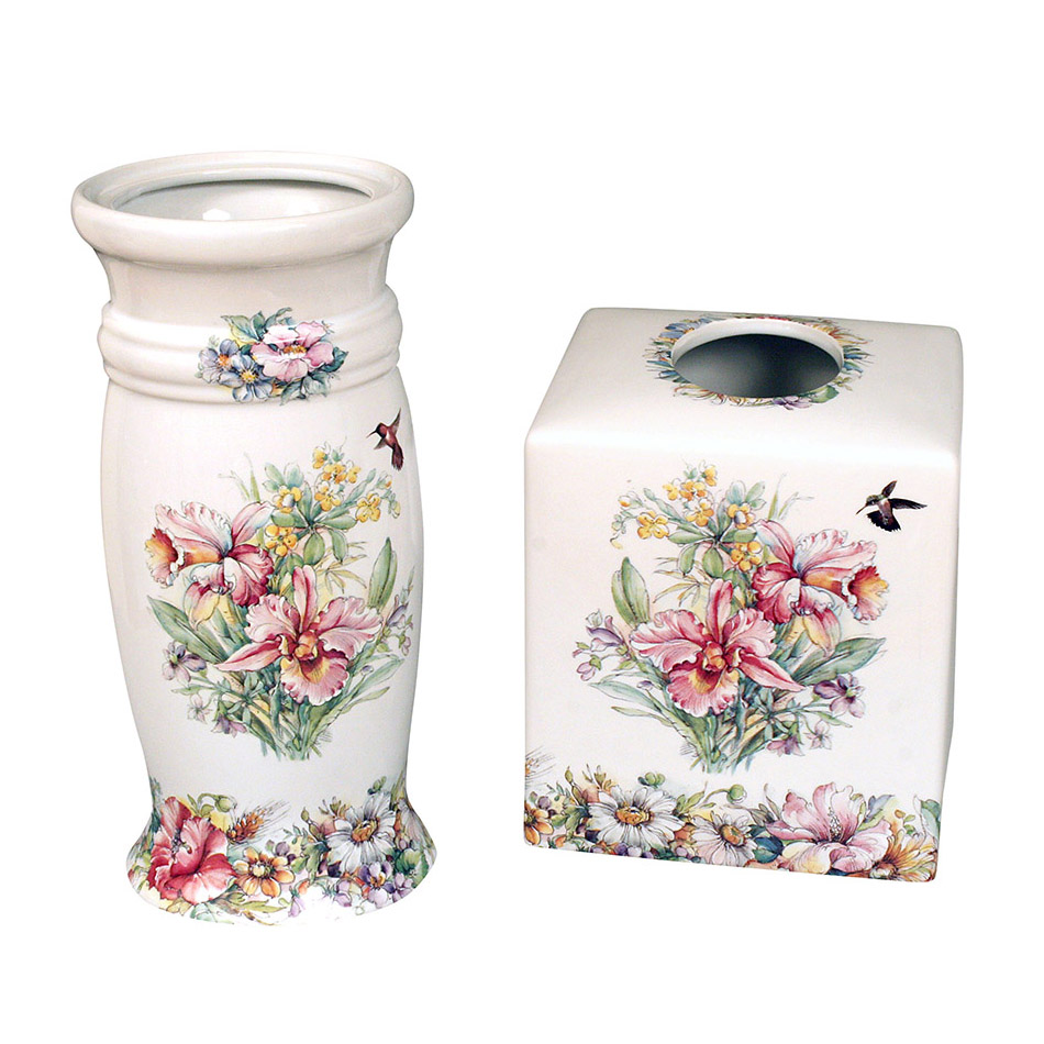 Rococo Floral Bathroom Toilet Brush Holder Tissue Box Cover
