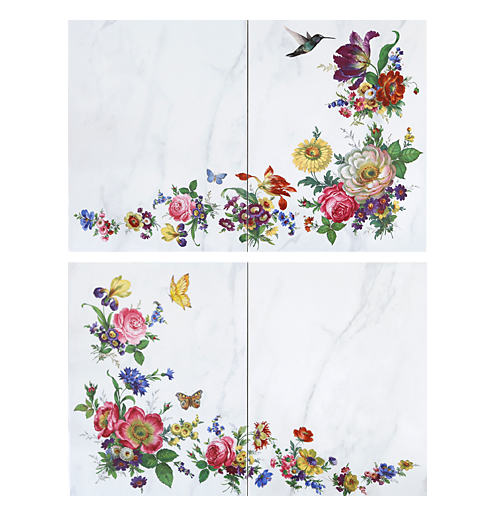 Scented Garden Floral Accent Tiles with Hummingbird