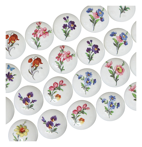 Hand Painted Floral Knobs