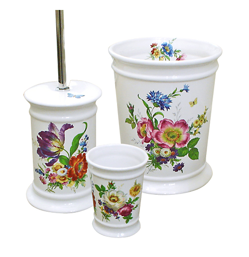 Scented Garden Hand Painted Trash Can, cup and toilet brush holder