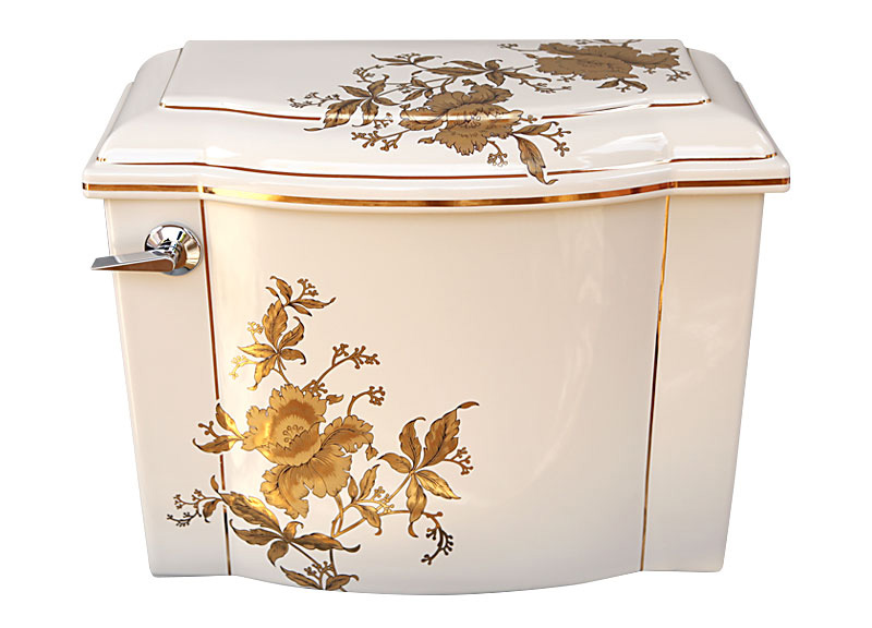 Gold Orchid Floral Painted Toilet Jpg